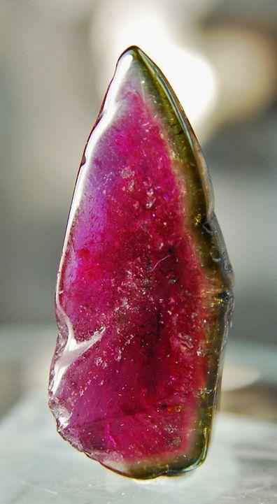 This polished Watermelon Tourmaline looks a lot like a slice of watermelon…