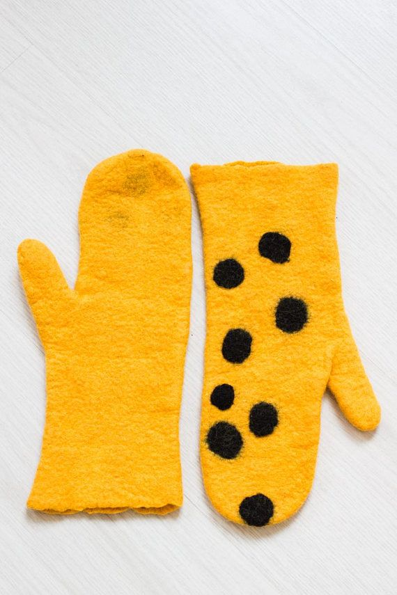 Felted Mittens Natural wool Yellow mittens Merino Wool gloves