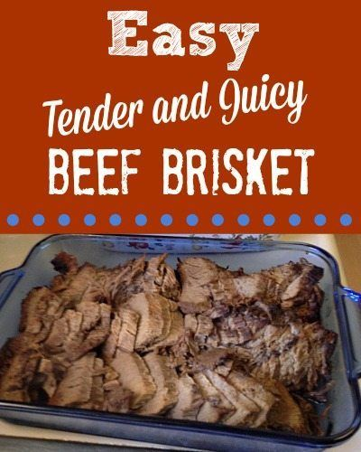 This recipe for baked beef brisket is easy, but it's not quick. Trust me, it's worth the wait. Easy Beef Brisket large beef brisket bouillon powder or base (chicken or beef) salt and pepper foil large roasting pan with lid Move oven racks to accomodate large roasting pan. Preheat oven to 250 degrees. Spray pan with non-stick coating. Lay brisket in pan, fat side up. Mix bouillon powder or base with 2-4 cups of water, depending on how much gravy you want, then pour over the meat in pan...