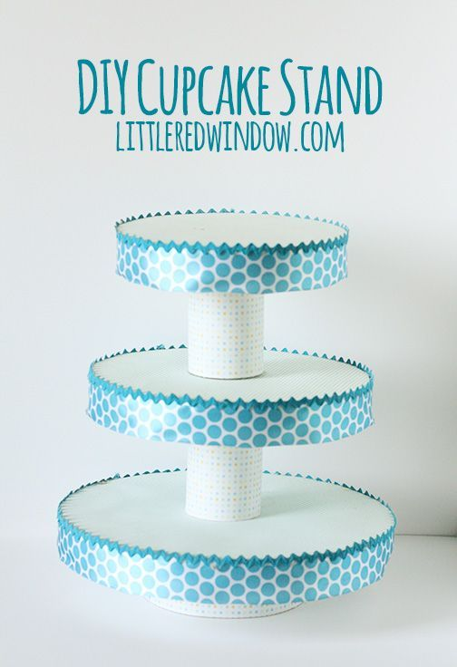 Make your own DIY cupcake Stand out of things you might already have at home! | littleredwindow.com
