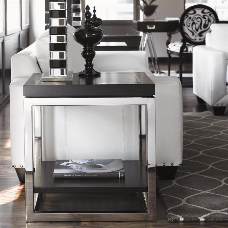 LUXE Designer Black u0026 Chrome Side Table
