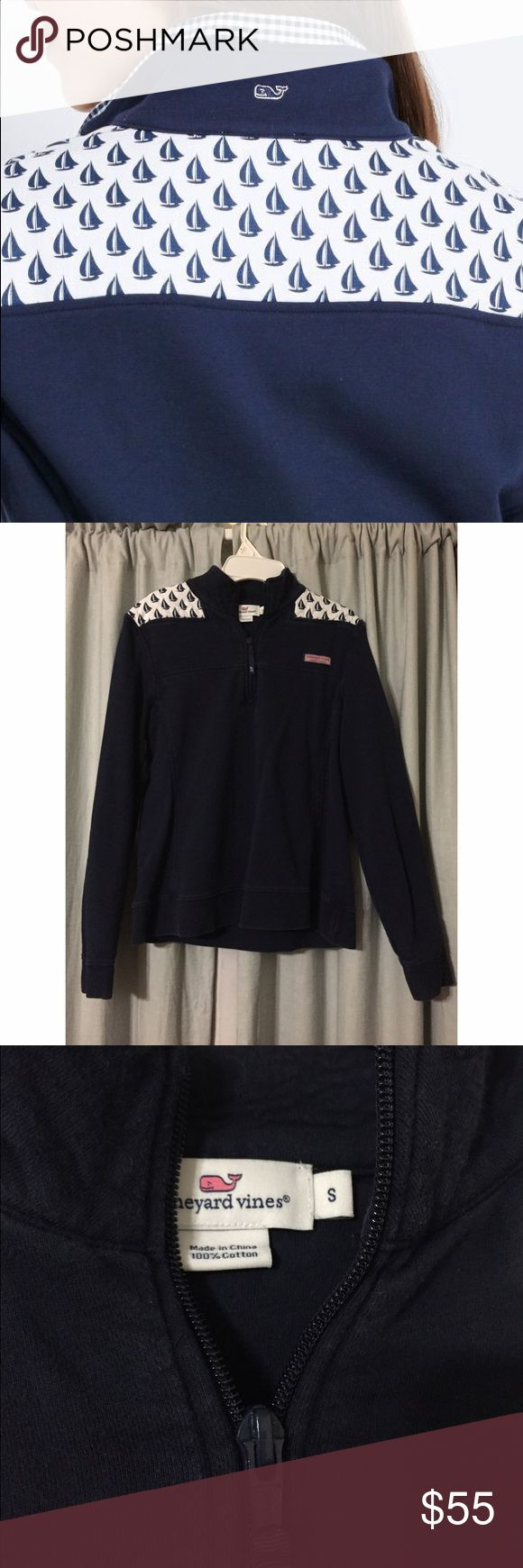 vineyard vines sailboat shep shirt navy sailboat shep shirt, small, worn a couple times but still in decent condition. it's starting to fade a little bit towards the seams. Vineyard Vines Sweaters