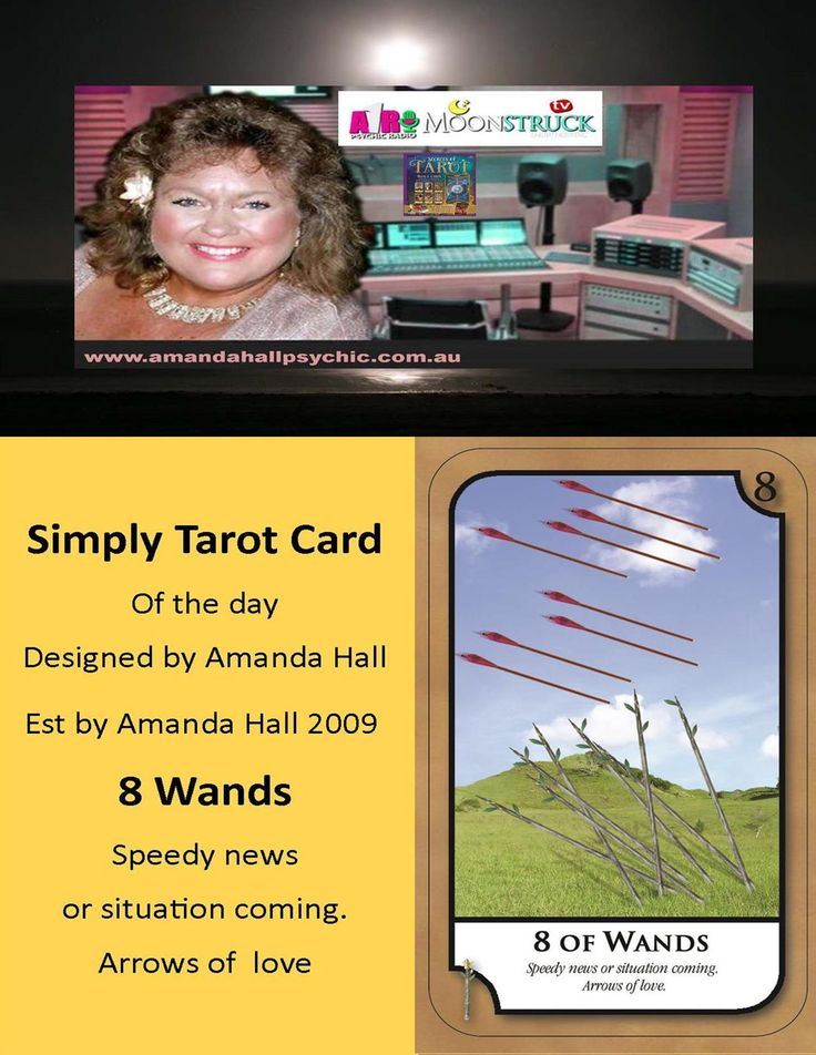 HAPPY 12TH BIRTHDAY - SIMPLY TAROT #SimplyTarotCard Wednesday 1st November 17🔮 8 OF WANDS  Speedy news or situation coming. Arrows of love  📺 Amanda Hall Psychic A1R Psychic Radio+Moonstruck TV Time: Tuesdays at 10pm US Eastern Time/ Wed Noon AEST🌎 Book a reading amanda@simplytarot.com.au or pm Est by Amanda Hall Oct 2009🌠🔮
