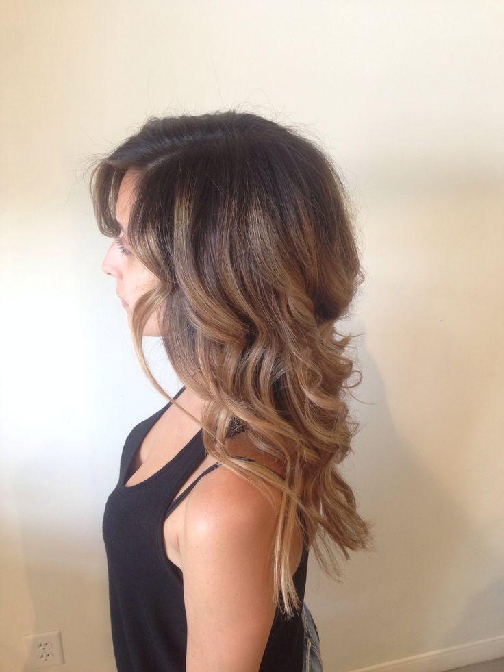 Balyage hairpainting summer Carmel beige hair curls @shelleygregoryhair