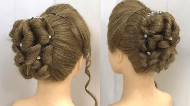 Easy Bun Hairstyle With Trick For Wedding Party With Images Easy Bun Hairstyles Engagement Hairstyles Prom Hair Updo