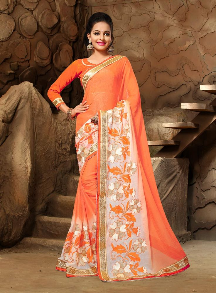 Orange Chiffon Festival Wear Saree 80877
