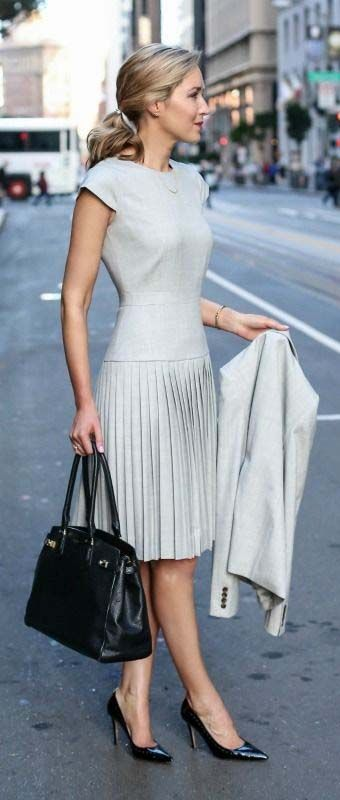 light grey pleated dress