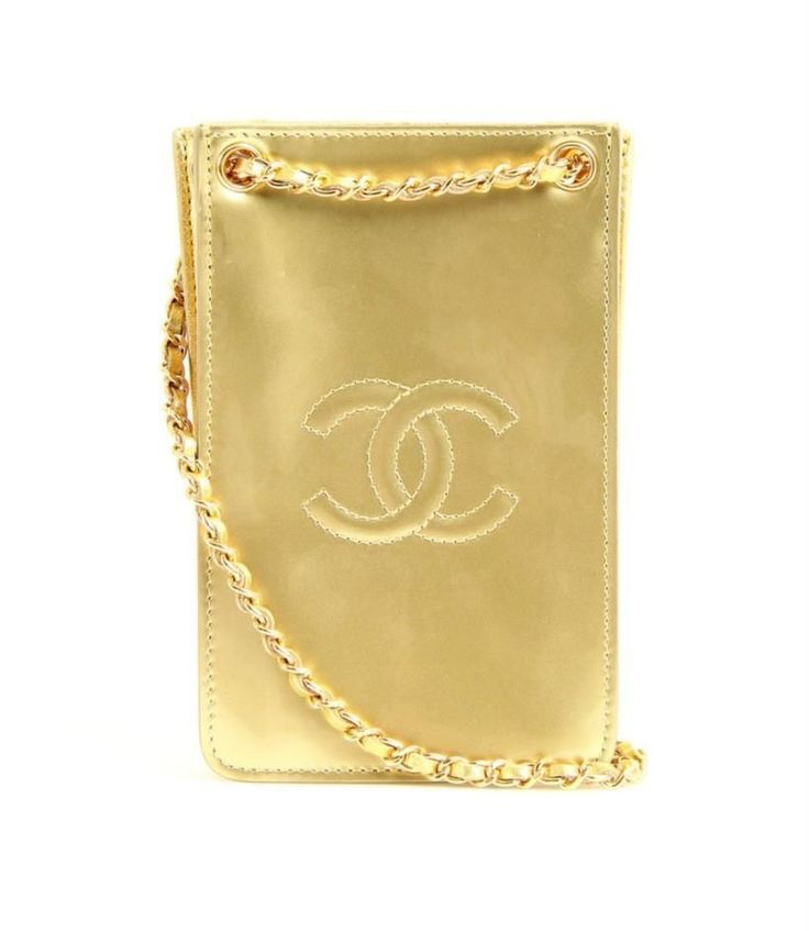 Chanel Metallic Gold Patent Leather Phone Holder Pouch Crossbody Bag 14S NEW #CHANEL #MessengerCrossBody