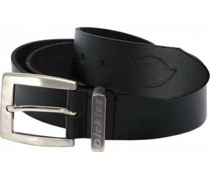This is a simple yet practical leather Dickies belt. The perfect addition for any Dickies workwear trousers; this belt features a stamped Dickies logo on the feather end and a nickel