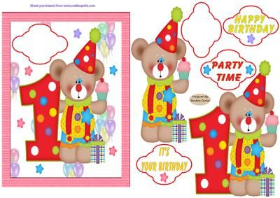 Happy 1st Birthday Decoupage Card Front on Craftsuprint designed by Sandra Carlse - A great 1st birthday card front with lovely vibrant colours