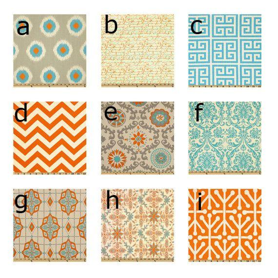Top left one for Eliana's room? Custom baby bedding - Orange, Turquoise, and Grey. $180.00, via Etsy.