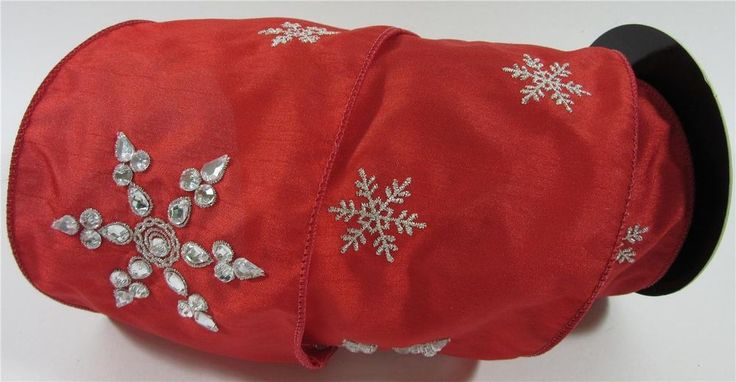 D Stevens Jeweled Embroidered Snowflakes Red Dupioni