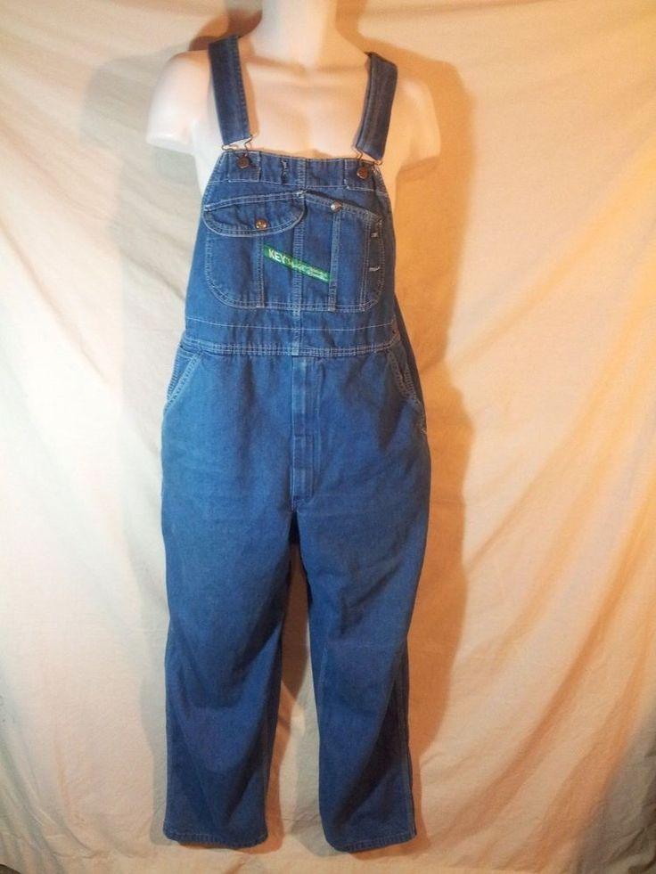 VINTAGE Key IMPERIAL Men's Overalls Denim Blue Bibs Farmer Carpenter Style 38x30 #Key #Overalls