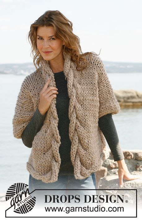Free knitting pattern for a jacket with chunky cable neckline