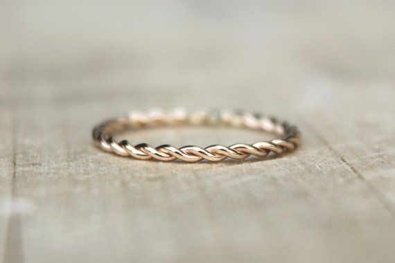 Gold Twist Ring, Yellow Gold Fill Stackable Ring, karma jewelry, eternity ring, nautical theme