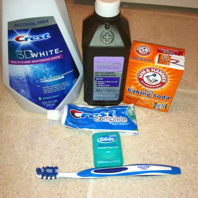 How to whiten your teeth instantly! Follow my ten easy steps to a brighter smile! Teeth Whitening: 1. Rinse toothbrush off with water. 2. Sprinkle baking soda on tooth brush. 3. Put toothpaste on top of baking soda. 4. Sprinkle baking soda on toothpaste. 5. Brush teeth thoroughly for 5 mins. 6. Rinse mouth out with water. 7. Floss 8. Swish hydrogen peroxide in mouth for 45 seconds. 9. Rinse with water. 10. Swish mouth wash in mouth for one minute. Complete.