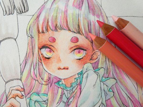 F Id Ofukusuke j Plain 色鉛筆 イラスト 奇想的なアート 水彩色鉛筆 イラスト