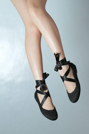 Black Ballet Flats - DIY with ribbon (I did this for prom shoes back in the day)!