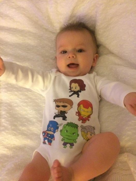 Super Hero Avengers inspired  One Piece - Cutest Baby Bodysuit  No Ordinary Baby  Boy  By Retrostate