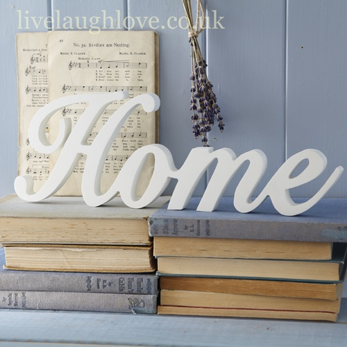 "Wood Script Word ""HOME""- Large £6.95"