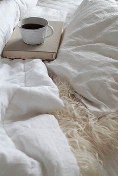 coffee in a white bed