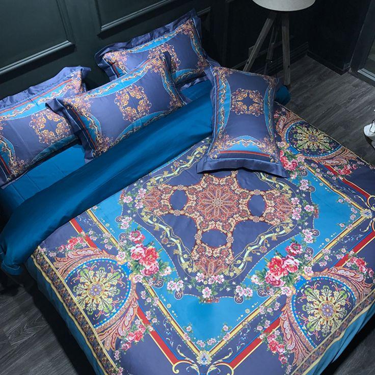 Fashion duvet cover cotton flat sheet pillowcases bedding set 600TC 100% Egyptian cotton duvet cover set modern style blue soft