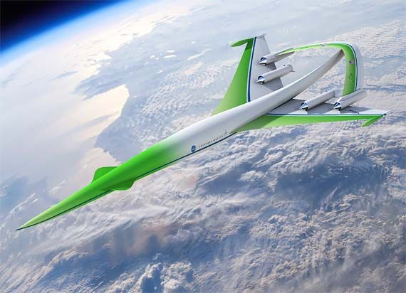 This is a NASA concept supersonic aircraft that uses green fuel and is manufactured with little or no carbon footprint..
