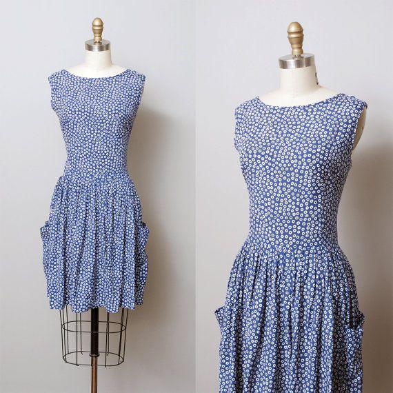 1990s Dress  Blue Circle Print Jumper Dress by OldFaithfulVintage, $38.00