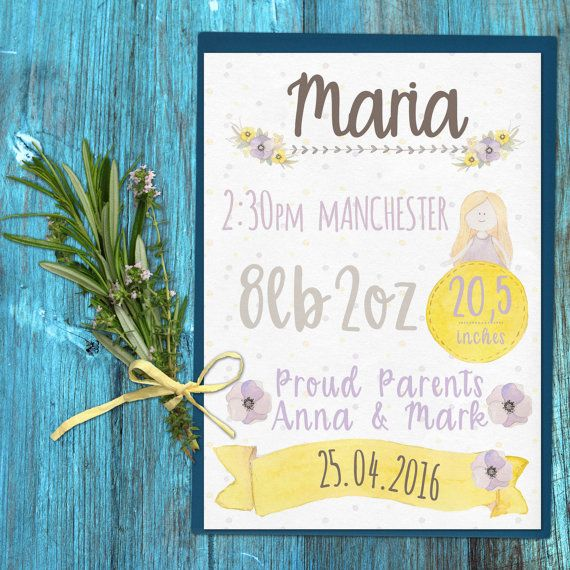 WATERCOLOR GIRLY - birth certificate Baby Info Board Announcement nusery Poster - made to order  - A3 - printable -  baby room baby shower