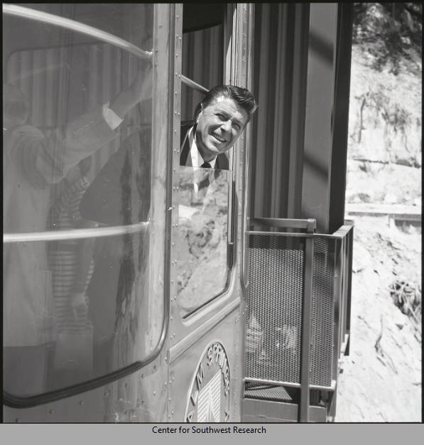 President Ronald Reagan on the aerial tramway, Palm Springs, CA by Lee Marmon