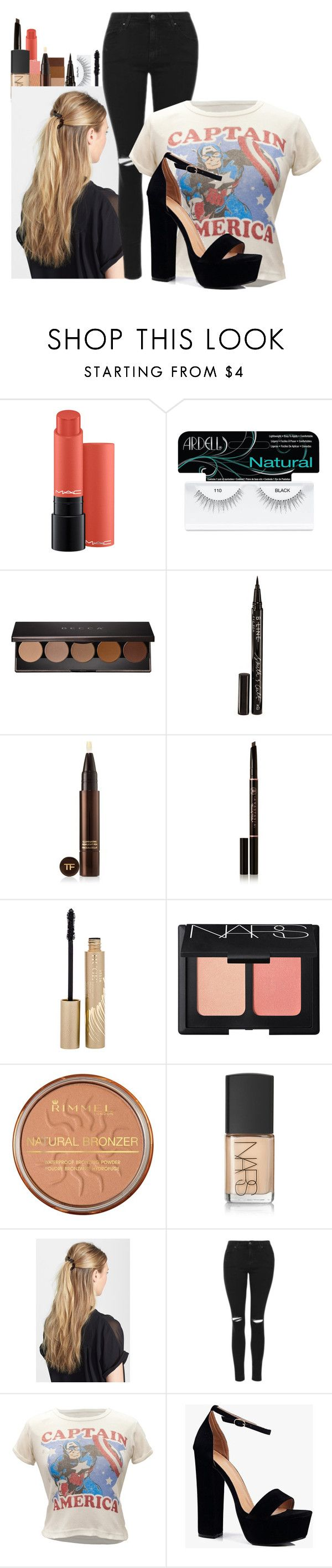 """Untitled #983"" by cheyleexox ❤ liked on Polyvore featuring Ardell, Becca, Smith & Cult, Tom Ford, Anastasia Beverly Hills, Stila, NARS Cosmetics, Rimmel, France Luxe and Topshop"