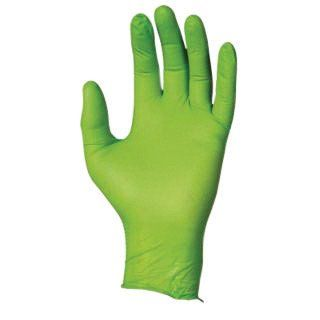 "SHOWA Best Glove X-Large Hi-Viz Green 9 1/2"" N-DEX Free 4 mil Nitrile Ambidextrous Powder-Free Disposable Gloves With Textured Finger Tip Finish And Rolled Cuff - 1 BX"