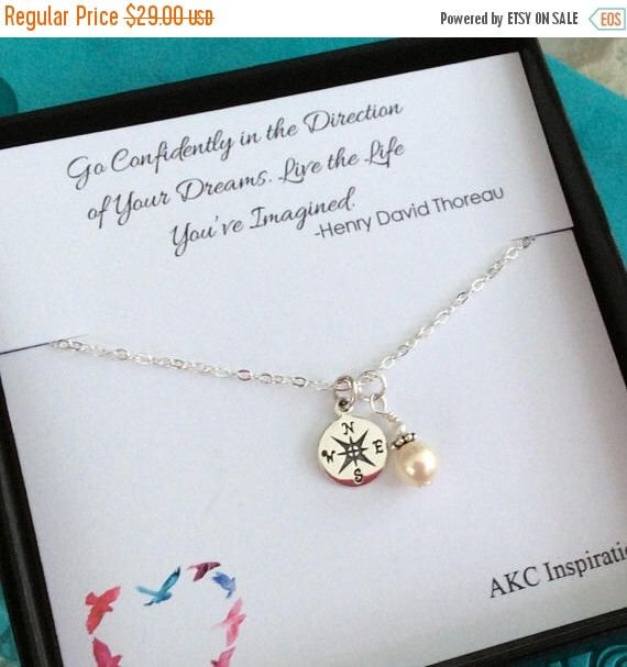 SUMMER SALE 15% OFF Graduation Gift for her, College graduation gift, Compass Necklace, High School Grad, Friendship necklace, best friends by AKCInspirations on Etsy https://www.etsy.com/listing/516482160/summer-sale-15-off-graduation-gift-for