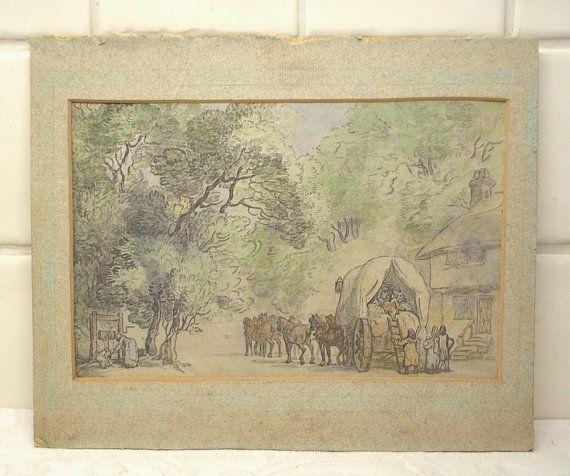ANTIQUE CROQUIS AQUARELLE  Une peinture à l'aquarelle antique / croquis représentant la vie du village et détaillé avec un panier et une grande équipe de chevaux, les villageois vaquant à leurs activités quotidiennes, le cottage et le bien entouré d'arbres. L'artiste comme étant inconnu car il n'y a pas de signature ou la date, même si cela peut être couverte par la monture. Pourrait être éventuellement géorgienne ou victorienne.  La peinture a disparu un peu et aussi jauni, comme a la m...