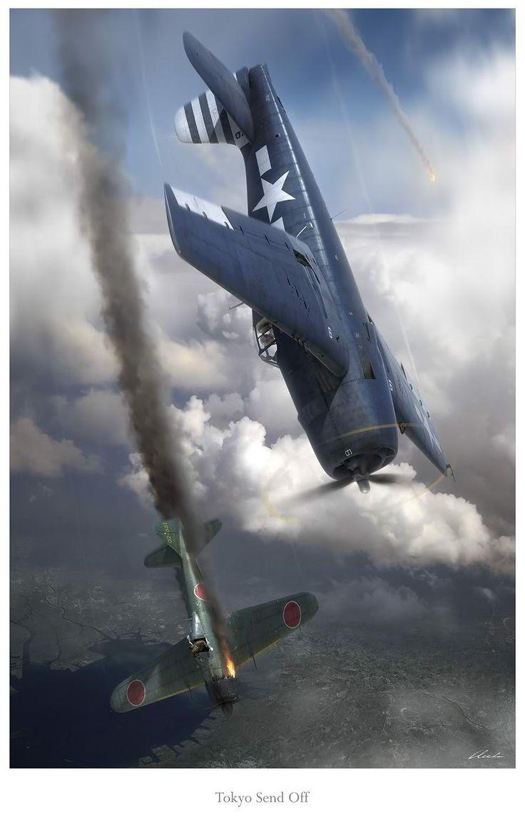 Tokyo Send Off, by Gareth Hector (Grumman F6F-5 Hellcat vs Mitsubishi A6M5 Zero)