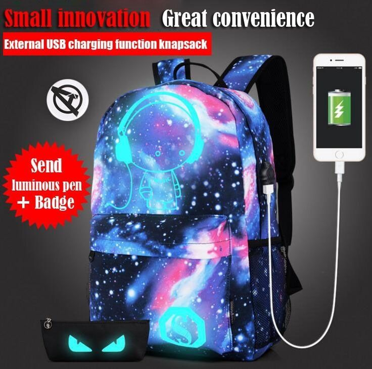 Unisex Backpack USB Charge music canvas Backpack school Backpack leisure bag