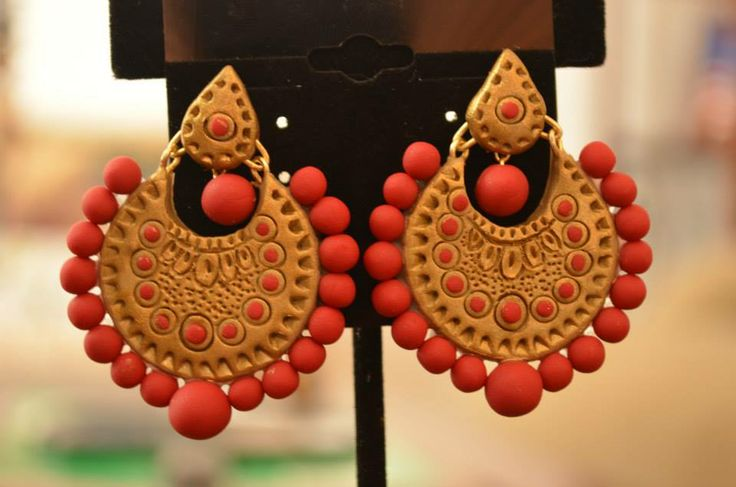 Ethnic Bali earrings made of Terracotta