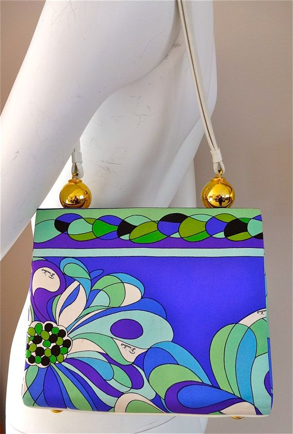 sale NEW vintage emilio PUCCI rare FLORAL flower made in florence italy purse handbag leather silk