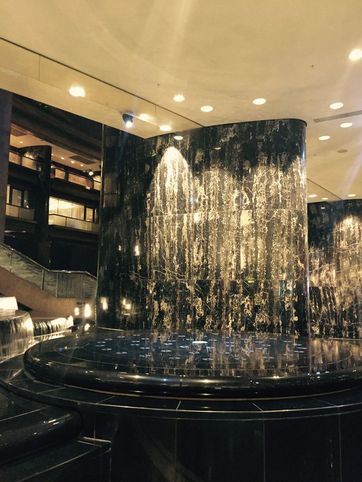 Project 1, Atrium & riverwalk: marble columns in atrium help to give a grand impression of this foyer