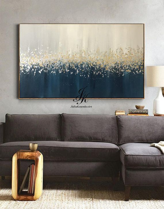 Large Abstract Oil Painting Original Art Gold Leaf Silver Leaf