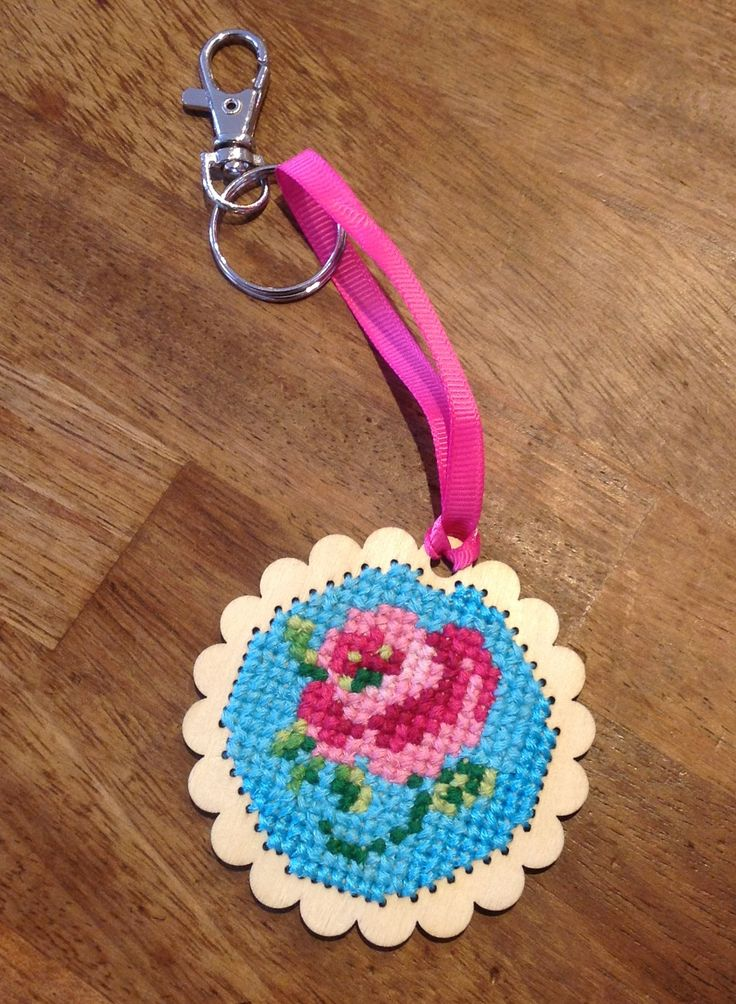 Cross stitch rose on wooden base keychain