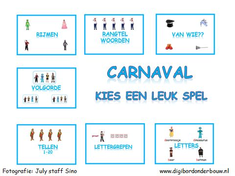 Digibordles carnaval: 7 verschillende spelletjes http://digibordonderbouw.nl/index.php/themas/carnaval/carnaval