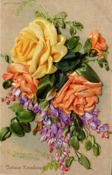 """Ricamo per quadro """"Rose e glicine"""" Silk ribbon  di Le meravigle di nastro su DaWanda.com"""