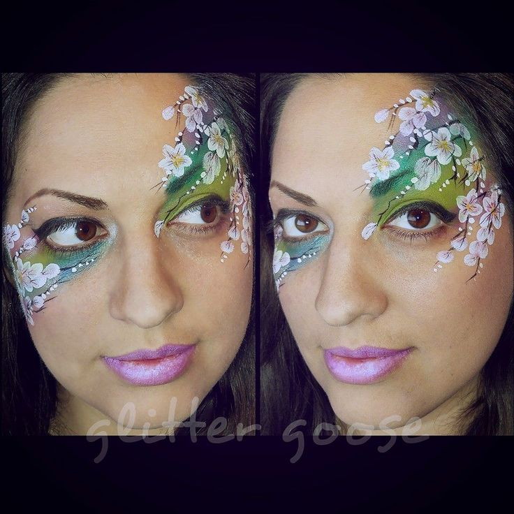 Cherry blossoms face painting by Glitter Goose!