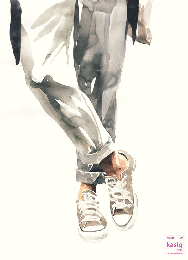 20160320 watercolor on paper by kasiq#fashion #sketch #style #converse #spris#classic #watercolor #painting #kasiq #illustration #shoes #jean #art #artwork #fashionillustration the sample photo via internet