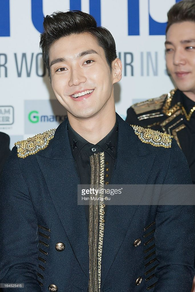 Choi Si-Won (Siwon) of South Korean boy band Super Junior attends during a press conference before their concert 'Super Show 5' at the Olympic Gymnasium on March 24, 2013 in Seoul, South Korea.