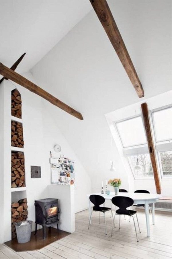 Swedish Design for The Homes. Beams, neat way to store firewood