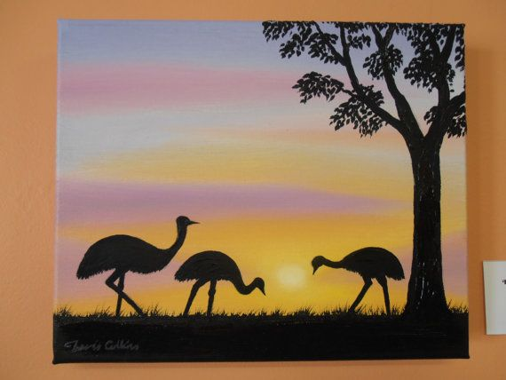 Emu Sunset Oil Painting by Australian Artist Travis by Castlereagh, $99.00