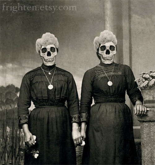 Halloween Art - The Grimm Girls - Altered Antique Mourning Photo of Two Sisters by frighten on etsy