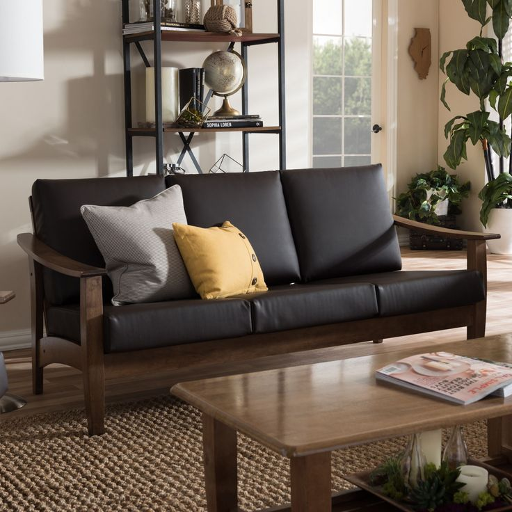 Leather Sofas Baxton Studio Phanessa Mid century Modern Brown Faux Leather Sofa Sofa Dark Brown